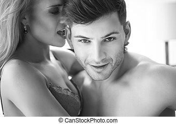 passione, coppia, Amore, ritratto