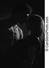passione, ritratto, di, coppia, amore
