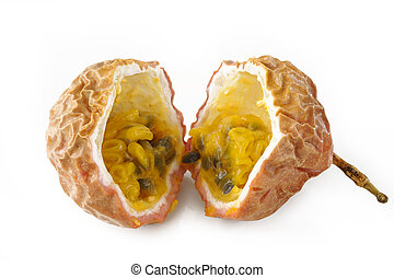 passionfruit on white background