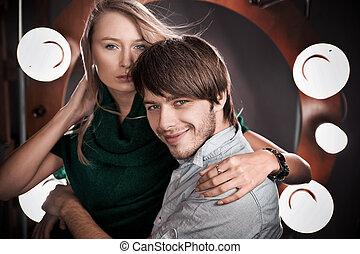 passionné, coup, couple., aimer