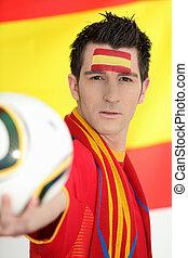 passionné, football, ventilateur, espagnol