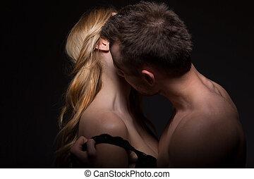 passionné, sien, déshabiller, homme, amant