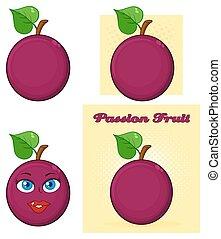 passionsfrukt, med, hjärta, blad, tecknad film, teckning, enkel, design, sätta, 1., kollektion