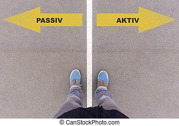 passiv, gruntowy, obuwie, asfalt, podłoga, niemiecki tekst,...