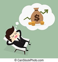 Passive income - Business man dreaming about money