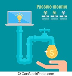 Passive income concept. Cartoon vector illustration. Tap with golden dollar droplet