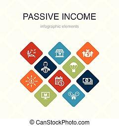 passive income Infographic 10 option color design. affiliate...