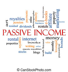 Passive Income Word Cloud Concept with great terms such as...