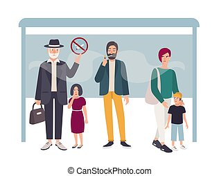 Passive smoking concept. Man smokes at a bus stop near non smoking people. Colorful vector illustration in flat style.