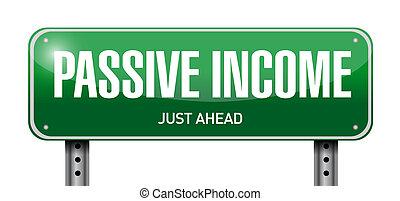 passivo, conceito, rua, renda, sinal