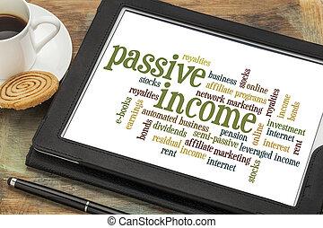 passivo, palavra, nuvem, renda