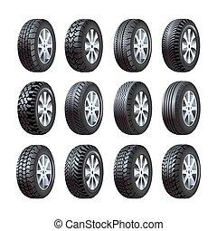 passo, ícones, car, isolado, pneus, vetorial, padrão, 3d
