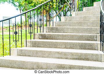 passo, astratto, giardino, scala