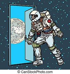 passo, astronauta, lua