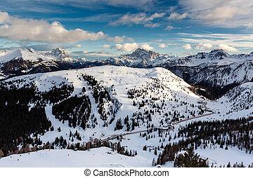Passo Campolongo Valley near Skiing Resort of Arabba, Dolomites Alps, Italy