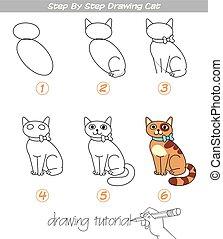 passo, desenho, gato