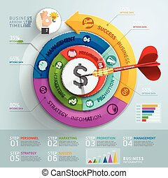 passo, freccia, affari, infographics