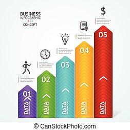 passo, ilustração, sucesso, infographics