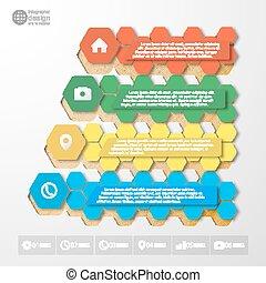 passo, infographics, cor, modelo, vetorial, para, negócio, desenho