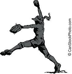 passo, jarro, rapidamente, softball