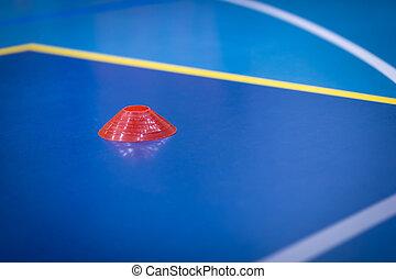 passo, marcador amarelo, indoor, futebol, cone, sideline.