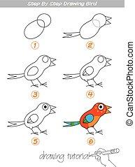 passo, pássaro, desenho