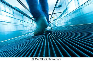 passo, pé, abstratos, escada rolante, movimento