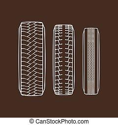 passo, pneu, ícones, car, isolado, pneus, vetorial, padrão, rastros
