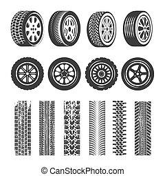 passo, pneu, ícones, pista, car, isolado, pneus, vetorial, padrão, rastros