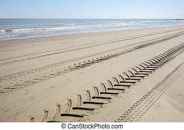 passo pneumatico, ingombri, di, uno, trattore, sabbia