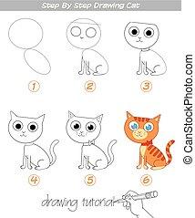 passo, tutorial., desenho, gato