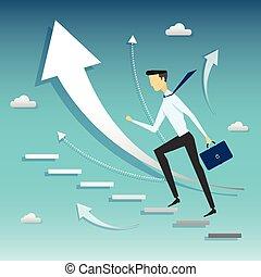passo, uomo affari, camminare, success., scala
