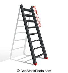 passo, vetorial, metal, escada