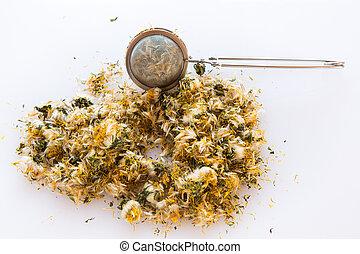 passoire, herbier, arrière-plan., séché, isolé, blanc, sain, herbes, pissenlit, confection, tea., fleur