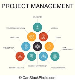 passos, ícones, simples, concept., apresentação, workflow, ...