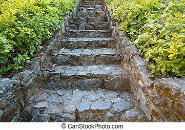 passos, em, oriental, jardim