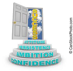 passos, levantar, para, sucesso, -, porta aberta