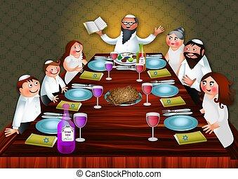 passover, 饭, 家庭