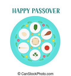 Passover ceder plate with traditional food isolated on white...