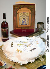 Passover Dinner Celebrations - Table prepared with...
