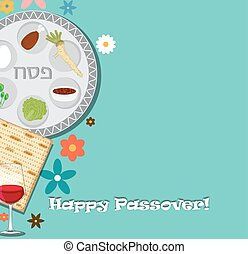 Passover dinner , seder pesach. background with passover plate and traditional food