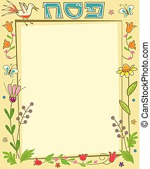 Passover Floral Note - Decorative floral blank banner with...