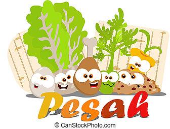 Passover food - Cartoon Passover seder foods together
