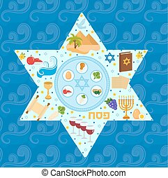 Passover greeting card with icons in the shape-stars. Pesach template for your design. Vector illustration.