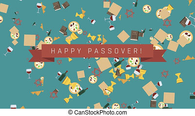 Passover holiday flat design animation background with...