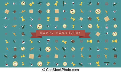Passover holiday flat design animation background with traditional symbols and english text
