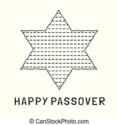 Passover holiday flat design black thin line icons of matzot...