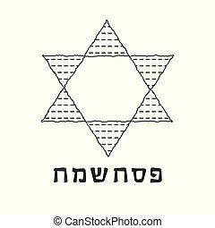 Passover holiday flat design black thin line icons of matzot...