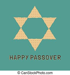 Passover holiday flat design icons of matzot in star of ...