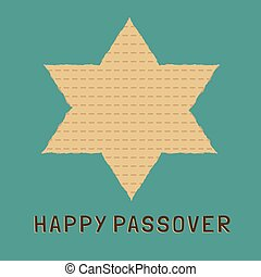 Passover holiday flat design icons of matzot in star of...